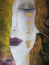 Modern Oil Painting 28x16 NOT a print Framing avail. Gustav Klimt abstract decor