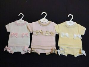 GIRLS SPANISH STYLE KNITTED BOW SHORTS AND TOP SETS SIZE NEWBORN TO 18 MONTHS