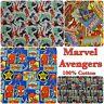 Marvel Cotton Fabric Avengers Hulk Spiderman Iron Man Comic Craft Patchwork