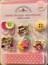 Doodlebug Designs Sweet Shoppe Scrapbook Embellishment Set Strawberry Parfait