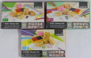 Kids Stamp Set designing creative cards albums or letters 11 piece set Real Wood