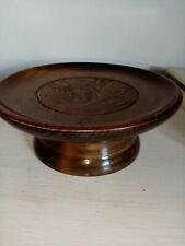 "Vintage rotating Reuge Wooden Musical  Carved Plate. ""Le vieux chalet"""