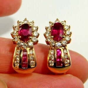VIVID RED GEM NATURAL RUBY Diamond Huggie Earrings 14K Yellow Gold Studs Drops