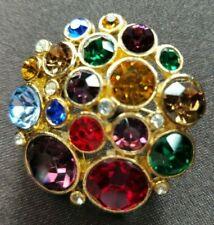 Vintage Multi Color Rhinestone Floral Cluster Gold Tone  Pin Brooch