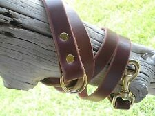 "LATIGO LEATHER DOG LEASH EXTENSION 1"" X 74""  SOLID BRASS SNAP, O-RING & RIVETS"