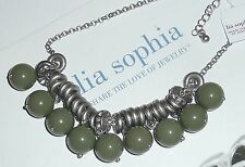 """NWT/NIB - LIA SOPHIA """"OFFBEAT"""" NECKLACE - OLIVE RESIN BEADS/CRYSTALS - 2012/$82"""
