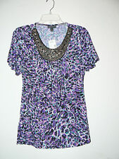 SMALL Fashion Bug Closeout Shirt Blouse Beaded NWT SUPER STRETCHY purple black S