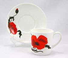 Wedgwood CORNPOPPY Flat Cup and Saucer Set 3 in. Susie Cooper Orange Poppy