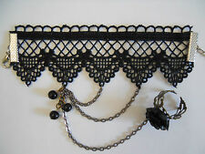 Black Lace Bracelet Cosplay Victorian Vintage Ceramic Rose Ring Chain Suit