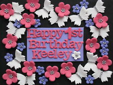 36 Edible Flower Butterfly + Plaque BIRTHDAY CAKE CUPCAKE TOPPERS