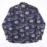 Vintage FIELD TESTED Blue Wildlife Duck Print Long Sleeve Shirt Size Men's XL