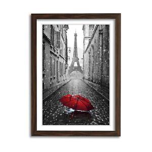 PARIS BLACK AND WHITE RED UMBRELLA ART FRAMED POSTER PICTURE PRINT ARTWORK