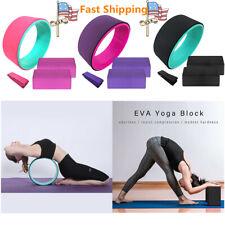 Yoga Fitness Exercise Block Brick Foam 2pc & Yoga Wheel & Yoga Strap Set