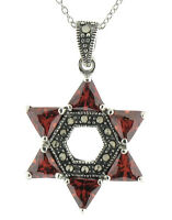 "Marcasite Sterling Silver 18"" Trillion Garnet Star of David Pendant Necklace"