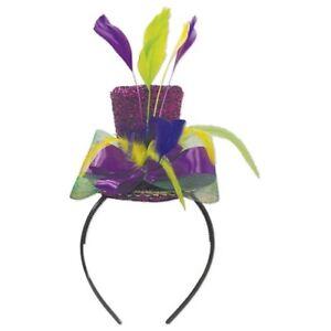 Mardi Gras Top Hat Headband Feathers Top Hat Fits Most Mardi Gras Hats