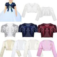 Girls Bolero Jacket Shrug Short Cardigan Wedding Party Dress Sweater Cover Up