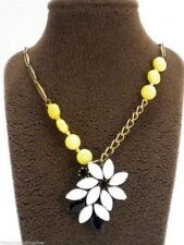 Fossil Mystic Flower Necklace Pendant Gold Tone Yellow White Set Stones New! NWT