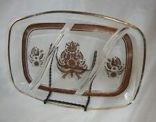 Georges Briard Sonata Divided Glass Tray Mid-Century Atomic Age Birds Partridge