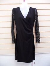 Joe Browns Dress Black Size 12jersey Style & Lace Sleeve Detail Party (g020