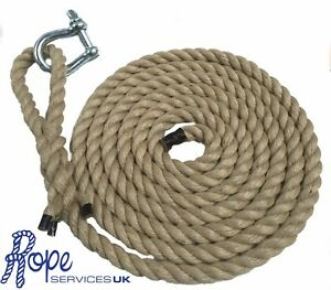 """Natural Gym Climbing Rope, Fitness, Indoor, Tree With 6"""" Soft Eye & Shackle"""
