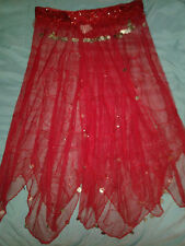 Vintage Belly Dancer Skirt Rich Red Glass Beads Silver Coins Hand Made Med-Lg