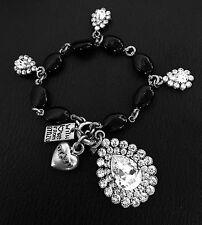 RODRIGO OTAZU Black Onyx Jet Rhinestone Charm Bracelet RARE!!
