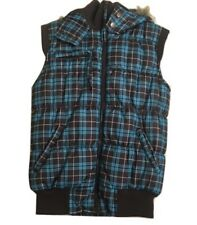 Bongo Girls Jacket Teal Brown Checkered Vest Puffer Sleeveless Size M