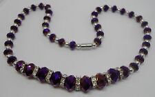 Purple Faceted Graduated Crystal Necklace with Magnetic Clasp