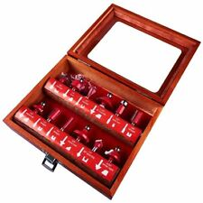 """12 Piece 1/2"""" Professional Shank Tct Tipped Router Bit Set+Wooden Case Tool"""