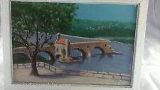 Peinture pont d'Avignon signée. Avignon bridge signed g LECAT Avignon