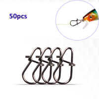 50pcs Fishing Swivel Rings Pins Stainless Steel Safety Snaps Lure Connector z