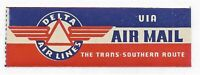 Delta Airlines Etiquette Label for The Trans Southern Route