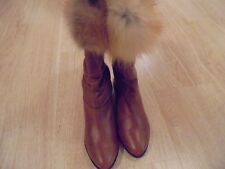 Womans Mid Calf Slough Boots With Added Red Fox  Fur Giving Rustic Unique Look