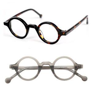 Hand Made 37mm Small Vintage Round Eyeglass Frames Full Rim Acetate Glasses