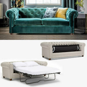 Classic Chesterfield Sofa Bed_3 seater_Royal Blue Velvet