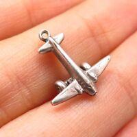 Vtg 925 Sterling Silver Toy Plane Charm Pendant