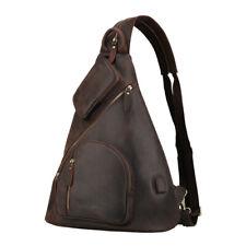 Men's Leather 14'' Laptop Sling Backpack Chest Bag Shoulder Bag w/USB Interface