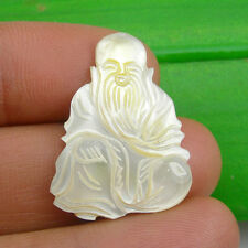 28x21mm Chinese Gods - Longevity Unmounted Carving Pendant Mother Of Pearl, Sau2