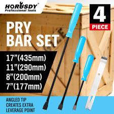 4pc Mechanics Pry Bar Set Flat Nail Puller Heavy Duty CrowBar Lever LONG Steel