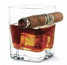 Whiskey Glass Cup With Cigar Holder Groove Rack Kitchen Bar Wine Drinking Mug ♫