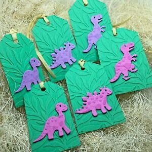 6/9 Handmade 3D Pink Purple & Yellow Dinosaur Gift Tags Boy Girl Birthday T-REX
