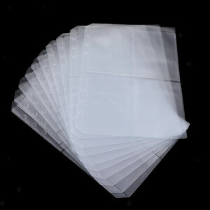 10x PVC Transparent File Binder Pocket A5 for 6 Hole Loose Leaf Binder Four