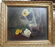 Antique 19th C. Victorian Floral Pansy Still Life Oil Painting Gilt Wood Frame