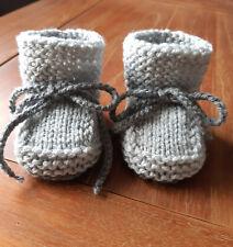 Babyschuhe* BabySöckchen*Socken*gestrickt*Handarbeit*hellgrau/dunkelgra*ca10 cm*