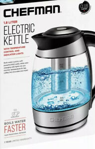 Chefman 1.8 Liter Electric Glass Kettle with Infuser & LED Indicator Lights