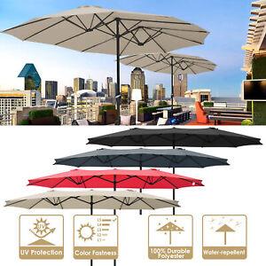 15ft Patio Twin Umbrella Double-sided Market Crank Outdoor Garden Parasol Shade