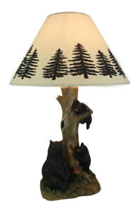 Playful Black Bears Climbing Pine Tree Rustic Table Lamp with Nightlight Base