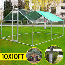 10x10Ft Chicken Run Walk in Coop  Metal  Cage for Poultry Rabbit Hen Dog House