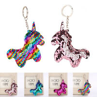 Reversible Mermaid Sequin Unicorn Horn Sparkly Key Chain Keyring Handbag Pendant