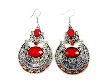 Red Boho Antique Silver Dangle Drop Earrings Hook Ethnic Tribal Bohemian